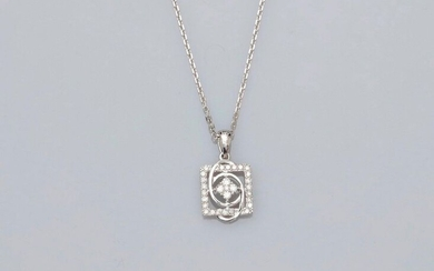 Chain and square pendant in white gold, 750 MM, openwork, covered with diamonds, length 45 cm, spring ring, weight: 3.6gr. rough.