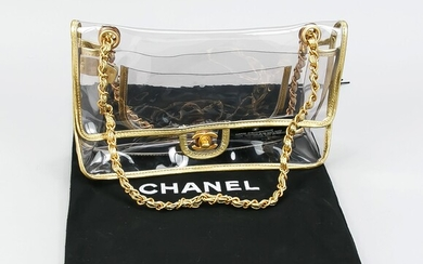 Chanel, Transparent Naked Classic Gold Vintage Flap Bag,...