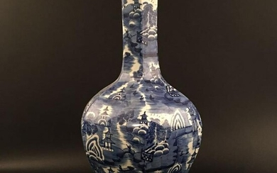 Chinese Blue-White 'Landscape' Hexagon Porcelain Vase