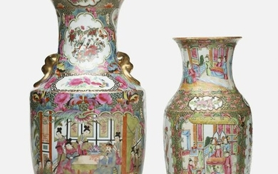 Chinese Export, Canton Rose vases, set of two