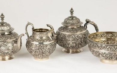 Chinese Export Sterling Silver Repoussé Tea Set
