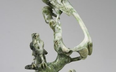 Chinese Hunan Jade Carved Phoenix on Stand