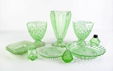 Collection Green Glass Wares inc Vases, Bowls, Dishes and Salt Shakers