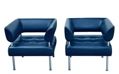Contemporary Modern Pair of Leather Arm Chairs
