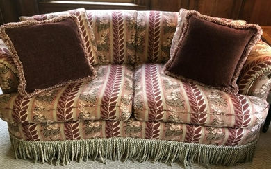 Custom Tapestry Upholstered Kidney Love Seat Trim