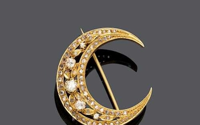 DIAMOND AND GOLD CRESCENT BROOCH, France, ca. 1870.