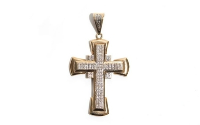 DIAMOND AND GOLD CROSS PENDANT, 53g