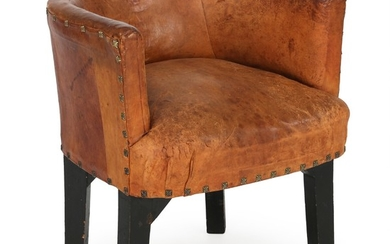 Danish Cabinetmaker: Desk chair. Back, sides and seat upholstered with patinated cognaccolored leather. Unoriginal black painted legs. Probably made 1920's.
