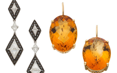 Diamond, Colored Diamond, Citrine, Gold Earrings The lot includes...