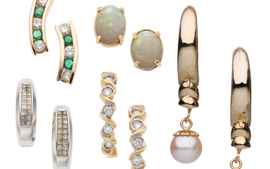 Diamond, Multi-Stone, Cultured Pearl Gold Earrings The lot includes...