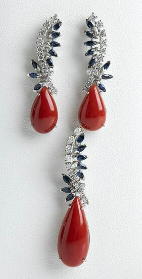 Diamond, sapphire and Mediterranean coral earrings and