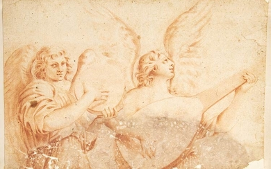 EMILIAN SCHOOL, 17TH CENTURY Couple of angels Sanguine on watermarked...