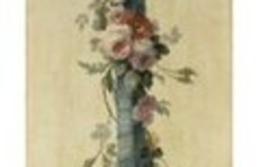 Early 19th century French school Large decorative panel decorated with a blue ribbon decorated with a garland of flowers Oil on canvas 250 x 45 cm