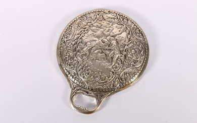 Edwardian Art Nouveau period silver backed hand mirror decor...