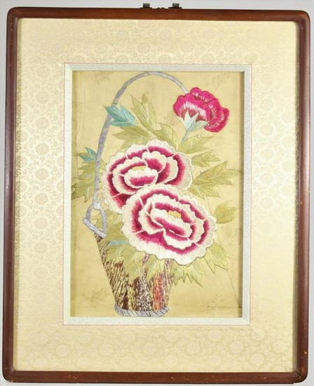 Embroidered Floral Still-Life of Carnations