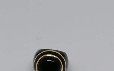 Enamel and gold cabochon French ring