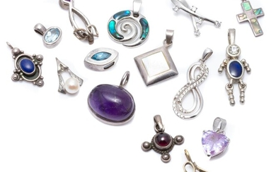 FIFTEEN SILVER STONE SET PENDANTS; assorted shapes and sizes set with amethyst, cultured pearls, paua shell, mother of pearl, blue t...
