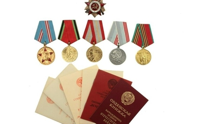 FIVE SOVIET DOCUMENTED MEDALS AND THE ORDER