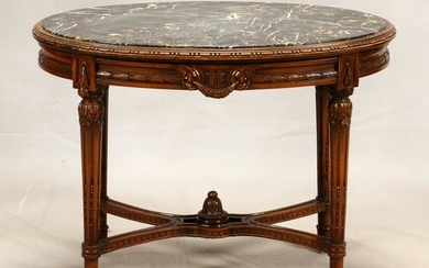 FRENCH WALNUT AND MARBLE COFFEE TABLE, CIRCA 1900