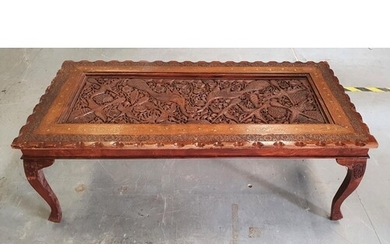 Finely carved Asian hardwood panel, extensively carved with ...