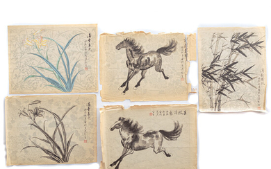 Five Chinese Brush & Ink Drawings, Unframed