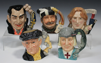 Five large Royal Doulton character jugs, comprising Oscar Wilde, D7146, The Trapper, D6609, St Georg