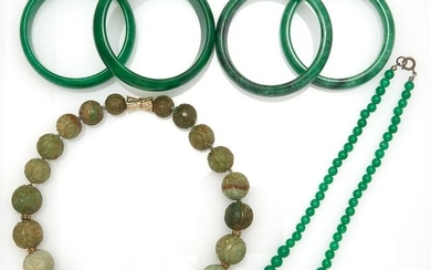 Four Dyed Jade and Nephrite Bangle Bracelets and Two Bead Necklaces