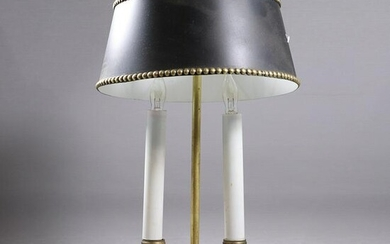 French Brass 2 Light Bouillotte Lamp Tole Shade