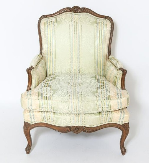 French Carved Louis XV Style Bergere, Antique