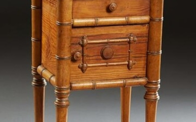 French Pitch Pine Faux Bamboo Marble Top Nightstand, c.