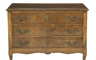 French Provincial Inlaid Walnut Commode
