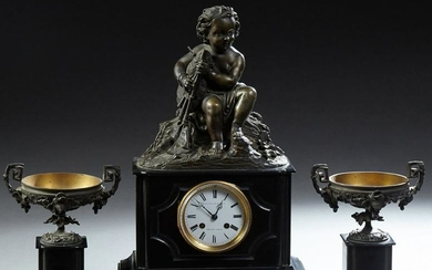 French Three Piece Bronze and Marble Clock Set, c.