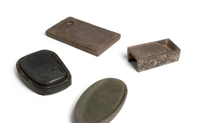 GROUP OF FOUR INK STONES HAN TO QING DYNASTIES