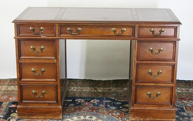 George III Style Mahogany Stained Pedestal Desk