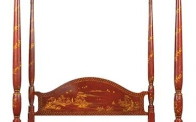Georgian-Style Parcel Gilt Chinoiserie Bed
