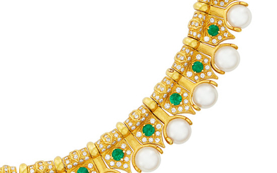 Gold, Cultured Pearl, Emerald and Diamond Necklace