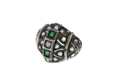 Gold and silver art deco ring with diamonds and st