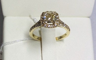 Gold ring 14K with diamonds