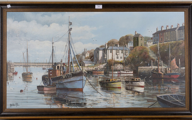 Gordon Allen - Boats Moored in Brixham Harbour, oil on canvas, signed, 54cm x 100.5cm, within a stai