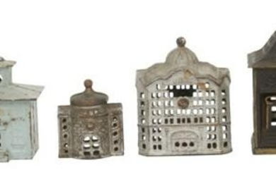 Group of 7 Cast Iron Building Banks