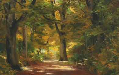 H. A. Brendekilde: Forest scenery. Signed H.A.B. Oil on canvas. 32×42 cm.