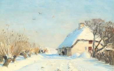 H. A. Brendekilde: Sunny wintry landscape with farmhouse. Signed H.A.B. Oil on canvas. 26.5×33 cm.