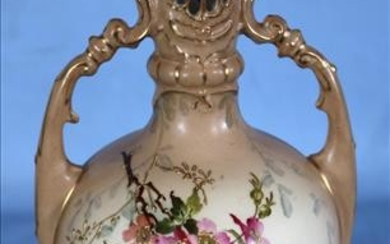 Hand painted Victorian vase, 11 in. T.