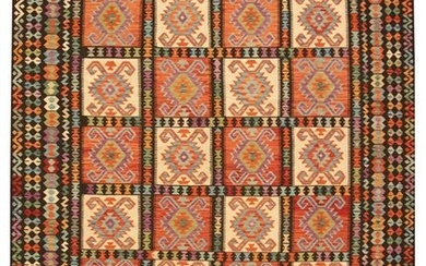 """Hand woven Bold & Colorful Black, Red Wool Kilim 10'0"""""""