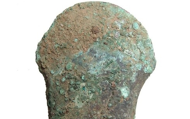 Heavy Chinese bronze socketed axe w/ wood remnants