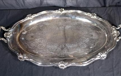 Heavy silver over copper serving tray