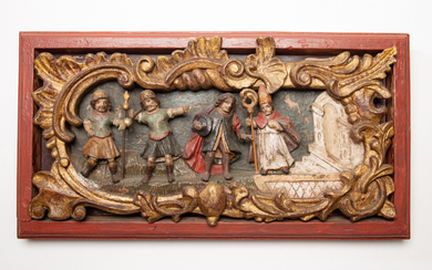Wooden sculpture / relief, Nicholas liberation of prisoners, wood, Central Europe, 18th century