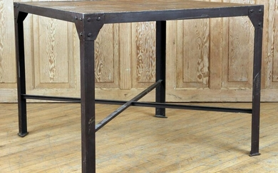 INDUSTRIAL IRON TABLE SEGMENTED WOOD TOP