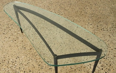 ITALIAN BOOMERANG GLASS TOP COFFEE TABLE C.1960