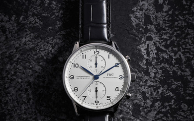 IWC. An Extremely Rare and historically interesting Stainless Steel Chronograph Wristwatch, given to Jose Ramos-Horta, in celebration of his receiving of the 1996 Nobel Peace Prize.